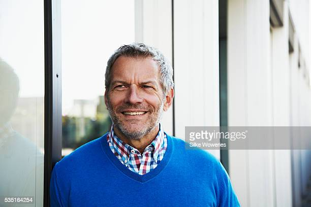 content middle-aged man - handsome 50 year old men stock photos and pictures