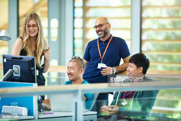 Content people working in modern office.