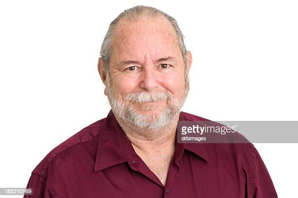 content senior man - fat man beard stock photos and pictures