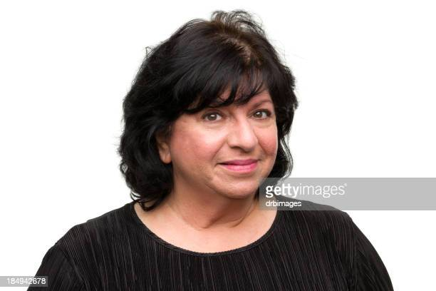 content woman headshot - short hair for fat women stock pictures, royalty-free photos & images
