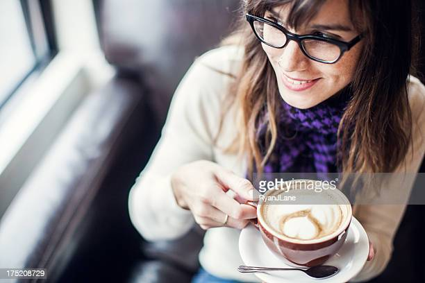 Content Woman with Latte