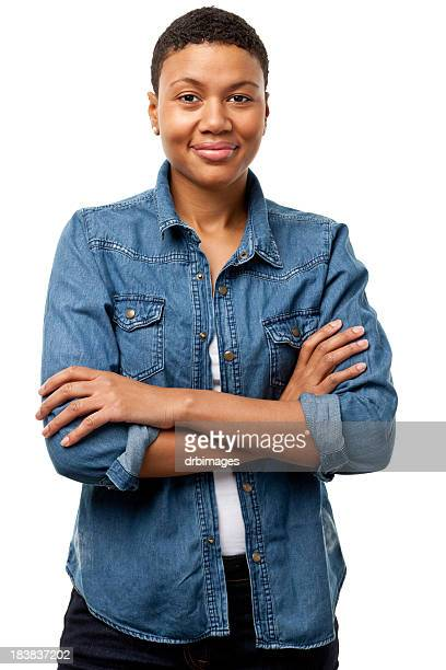content young woman with arms crossed - waist up stock pictures, royalty-free photos & images
