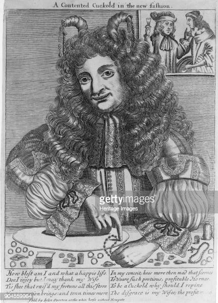 A Contented Cuckhold in the new fashion pub c1680 with Note that his hair has been made to look like horns to symbolise he is a cuckold
