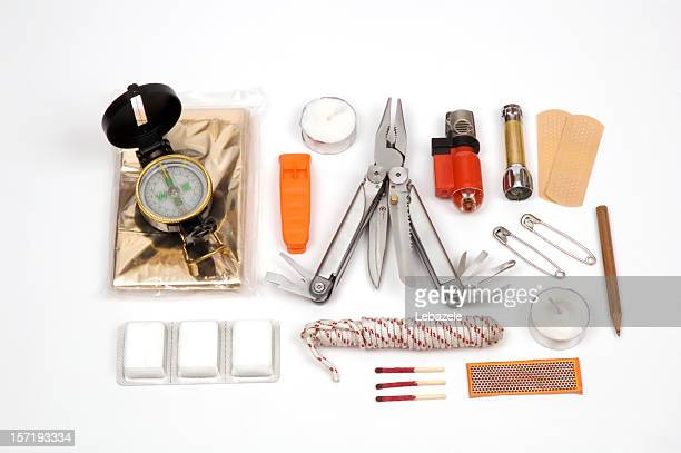 contents of a survival kit on display - survival stock pictures, royalty-free photos & images