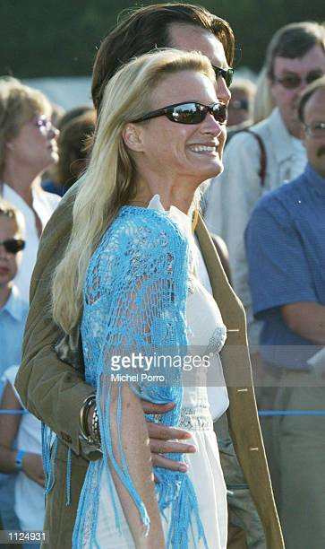 Contess Astrid of Belgium and her husband leave the 25th birthday party of Swedish Crown Princess Victoria July 14 2002 in Borgholm Sweden The royal...