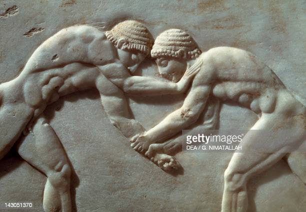 Contest between athletes relief from the Necropolis of Kerameikos in Athens Greece Detail Greek civilization 6th Century BC Athens Ethnikó...