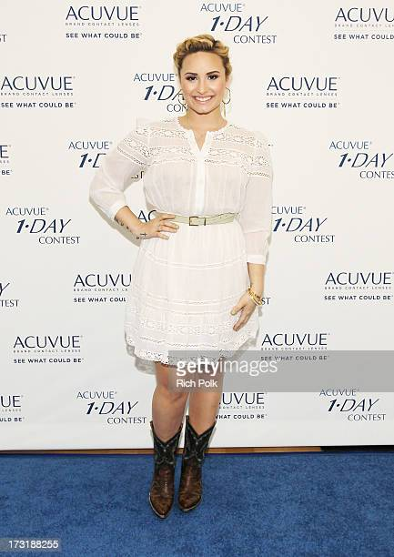 Contest mentor Demi Lovato shares her 1DAY dream with teens at an ACUVUE¨ Brand event on July 9 2013 in West Hollywood California