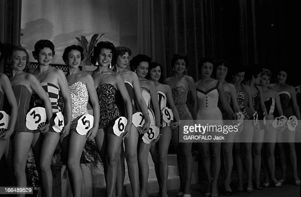 Contest Miss France 1955. 1955, Fontainebleau, la soirée du concours Miss France et la gagnante Véronique ZUBER.Lors de la soirée, les concurrentes...