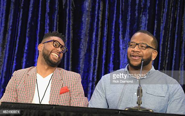 AFI contest winner Kevin Ward and NFL player Terrence Stephens speak onstage at the 16th Annual Super Bowl Gospel Celebration Press Conference on...