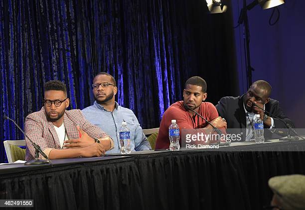 AFI contest winner Kevin Ward NFL players Terrence Stephens Cam Newton and Michael Gaines speak onstage at the 16th Annual Super Bowl Gospel...
