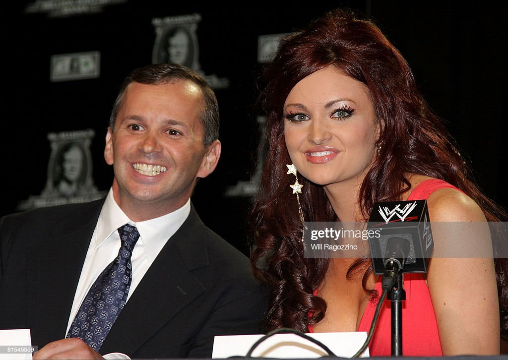 Contest winner Steve Rosenzweig (L) and WWE Diva Maria attend the announcement of the First McMahon Million Dollar Mania Winners at the Hard Rock Cafe June 12, 2008 in New York City.