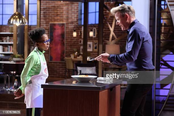 Contestant Aaron and host / judge Gordon Ramsay in the Junior Edition Off the Hook episode of MASTERCHEF airing Tuesday March 26 on FOX
