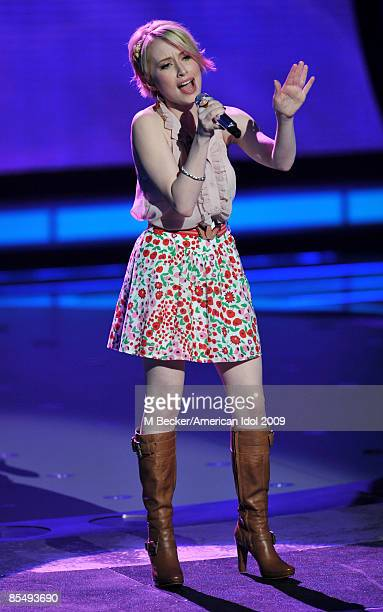 ACCESS*** Contestant Alexis Grace performs during the live elimination show on American Idol March 18 2009 in Los Angeles California One contestant...