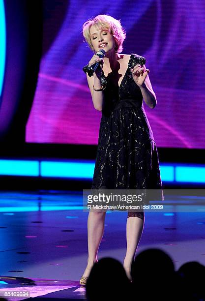 ACCESS*** Contestant Alexis Grace performs live on American Idol March 17 2009 in Los Angeles California The top 11 perform in front of the American...