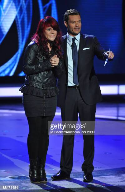 ACCESS*** Contestant Allison Iraheta and host Ryan Seacrest live on the American Idol Season 8 Top 4 Elimination Show on May 6 2009 in Los Angeles...