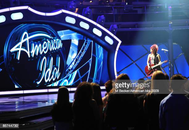 ACCESS*** Contestant Allison Iraheta performs live on American Idol Season 8 Top 9 Performance Show on March 31 2009 in Los Angeles California