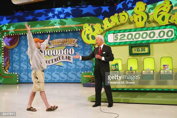 A contestant and host Bob Barker play The Price Is Right million dollar spectacular celebrating host Bob Barker's induction into the Academy of...
