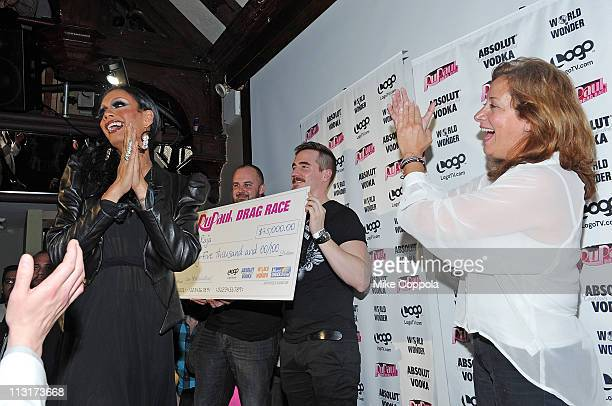 Contestant and winner Raja and executive vice president and general manager of Logo Lisa Sherman attend Logo's 'RuPaul's Drag Race' New York City...