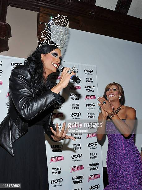 Contestant and winner Raja and host Shangela attend Logo's 'RuPaul's Drag Race' New York City season finale party at Providence on April 25 2011 in...