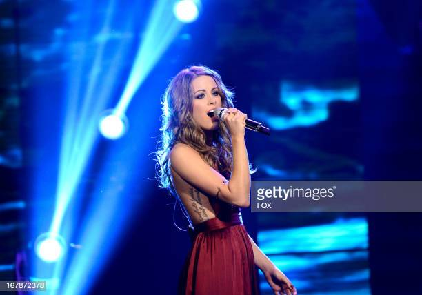 Contestant Angie Miller performs onstage at FOX's American Idol Season 12 Top 4 to 3 Live Performance Show on May 1 2013 in Hollywood California