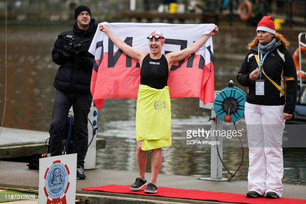 Contestant applauding supporters after the competition European Walrus Championships 2019 Competitions were held in cold water at Walrus a very...