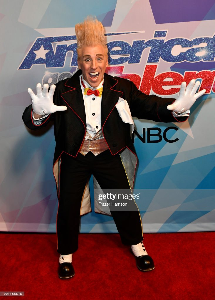 Contestant Bello Nock attends the Premiere Of NBC's 'America's Got Talent' Season 12 at Dolby Theatre on August 15, 2017 in Hollywood, California.