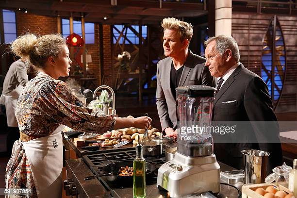 Contestant Brandi Gordon Ramsay and Wolfgang Puck in the Wolfgang Puck episode of MASTERCHEF airing Friday June 17 on FOX