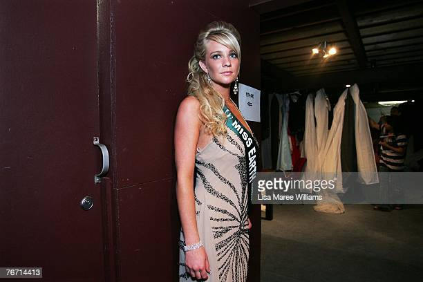 Contestant Breeana Nolan prepares to go on stage during the Miss Earth Australia contest at the Enmore Theatre September 13 2007 in Sydney Australia...