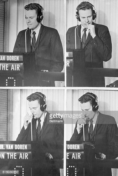 Contestant Charles Van Doren is shown in an isolation booth trying to come up with the correct answer on the quiz show TwentyOne It was later...