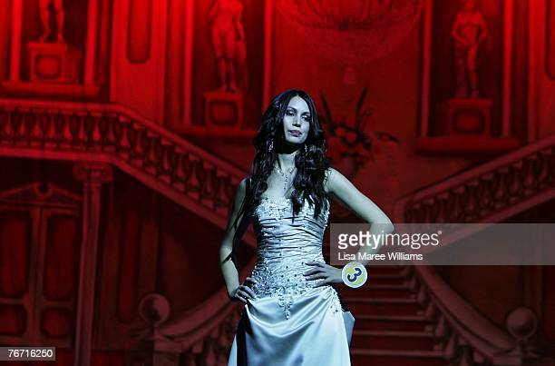 Contestant competes for the title of Miss Earth Australia at the Enmore Theatre September 13 2007 in Sydney Australia Thirtyfive finalists are...