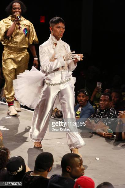 Contestant competes in the category Butch Queen Runway Hector Xtravaganza Interpretation of the Billy Porter tuxedo gown at the 29th Annual GMHC...