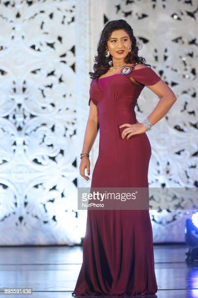 Contestant competes in the dress wearing round during the Miss Tamil Canada Queen of Angels beauty pageant held in Scarborough Ontario Canada on...