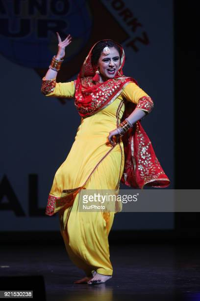 Contestant competes in the traditional Giddha folk dance segment during the Miss World Punjaban beauty pageant held in Mississauga, Ontario, Canada...