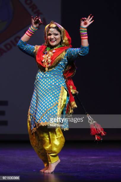 Contestant competes in the traditional Giddha folk dance segment during the Miss World Punjaban beauty pageant held in Mississauga Ontario Canada on...