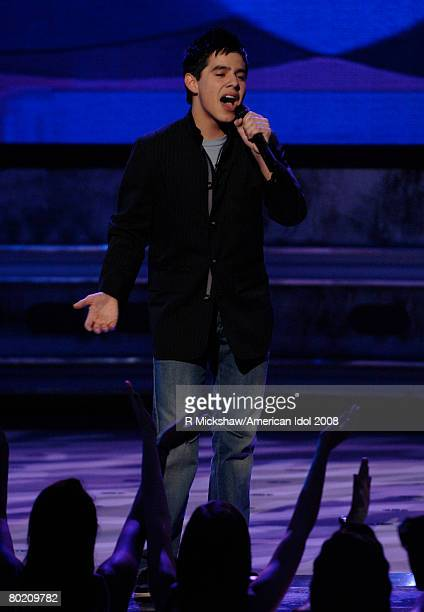 ACCESS*** Contestant David Archuleta performs We Can Work it Out by The Beatles live on American Idol March 11 2008 in Los Angeles California The top...