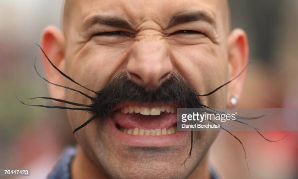 Contestant displays their moustache prior to the World and Moustache Championships at the Brighton Centre on September 1, 2007 in Brighton, England....