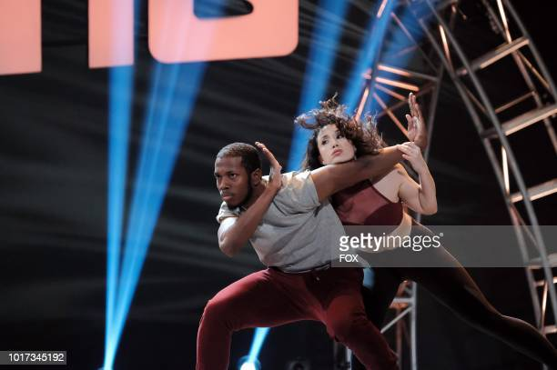 Contestant Dustin Payne and AllStar Allison Holker perform a dance routine during academy week airing Monday July 30 on FOX