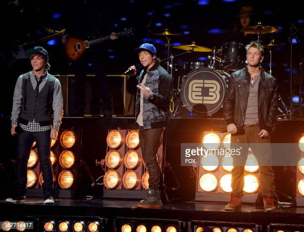 Contestant Emblem3 performs onstage at FOX's 'The X Factor' Season 2 Top 6 Live Performance Show on December 5 2012 in Hollywood California