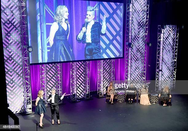 Contestant Erin Timony host Kelly Osbourne judges Bunny Meyer aka Grav3yardgirl Jade Taylor Vegas Nay and Ve Neill speak onstage during the 4th...