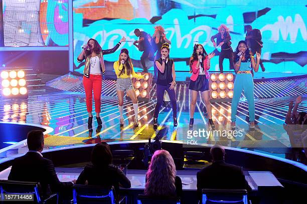 Contestant Fifth Harmony performs onstage at FOX's 'The X Factor' Season 2 Top 6 Live Performance Show on December 5 2012 in Hollywood California