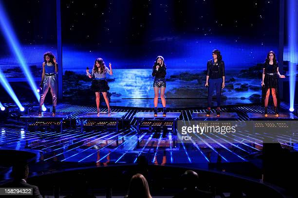 Contestant Fifth Harmony performs onstage at FOX's 'The X Factor' Season 2 Top 4 Live Performance Show on December 12 2012 in Hollywood California