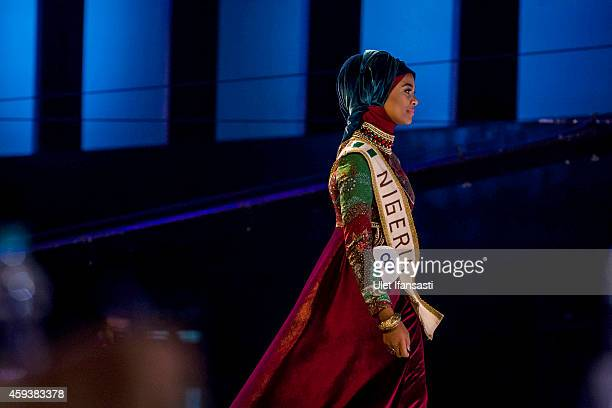 A contestant from Nigeria takes part in the 4th annual World Muslimah contest during the grand final at Prambanan temple on November 21 2014 in...