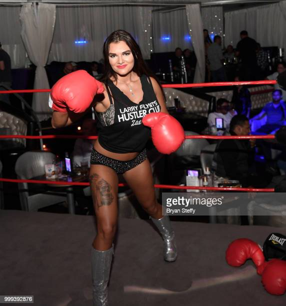 "Contestant in ""Foxy Boxing"" enters the ring during Larry Flynt's Hustler Club Instagram party hosted by Jessica Weaver at Larry Flynt's Hustler Club..."
