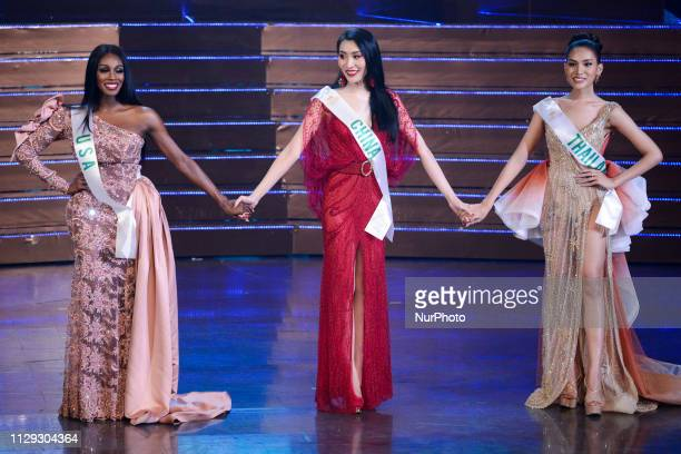 Contestant Jazell Barbie Royale of the USA Yaya of China and Thailand's Kanwara Kaewjin the top three contestants on stage during the annual...