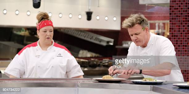 LR Contestant Jennifer and chef / host Gordon Ramsay in the allnew Five Is The New Black episode of HELLS KITCHEN airing Friday Jan 12 on FOX