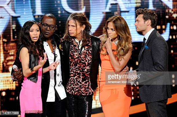 Contestant Jessica Sanchez is saved by judges Randy Jackson Steven Tyler and Jennifer Lopez and host Ryan Seacrest onstage at FOX's American Idol...