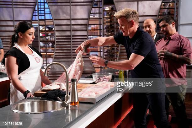 "Contestant Julia, host / judge Gordon Ramsay and judges Joe Bastianich and Aaron Sanchez in the ""Just for the Halibut"" episode of MASTERCHEF airing..."