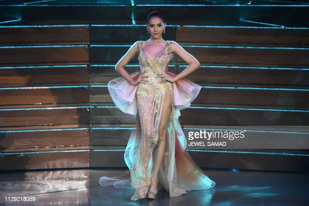 Contestant Kanwara Kaewjin of Thailand competes during the Miss International Queen 2019 transgender beauty pageant in Pattaya on March 8 2019