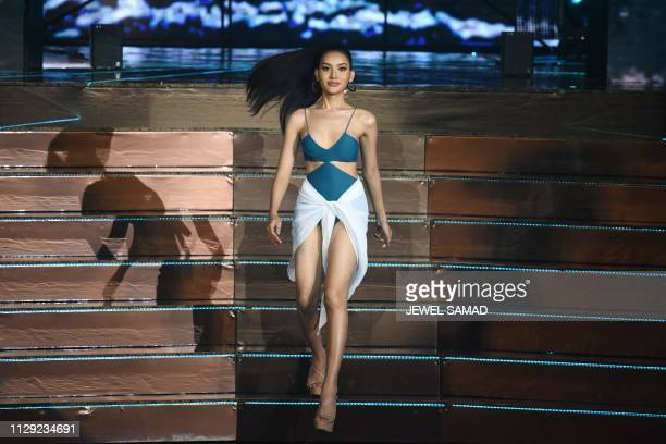 Contestant Kanwara Kaewjin of Thailand competes in swimsuit during the Miss International Queen 2019 transgender beauty pageant in Pattaya on March 8...