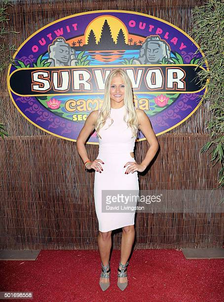 Contestant Kelley Wentworth attends CBS's Survivor Cambodia Second Chance photo op at CBS Television City on December 16 2015 in Los Angeles...